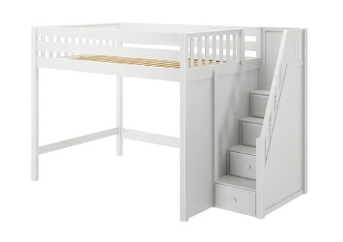 Hayes White Queen Loft Bed with Stairs