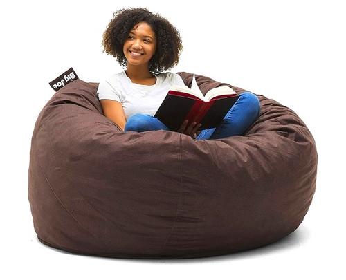 Big Joe Large Fuf Big Bean Bag Chair with Adult Cocoa