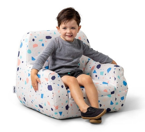 Big Joe Mid Mod Toddler Bean Bag Chair with Toddler Dolce Terrazzo White Patterned Print