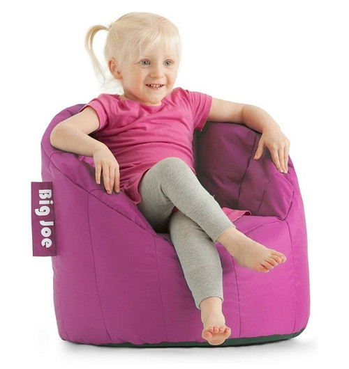 Big Joe Milano Childrens Bean Bag Chair with Child Passion Pink