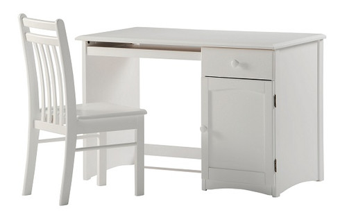 Hollywood White Student Desk shown with Optional Student Desk Chair