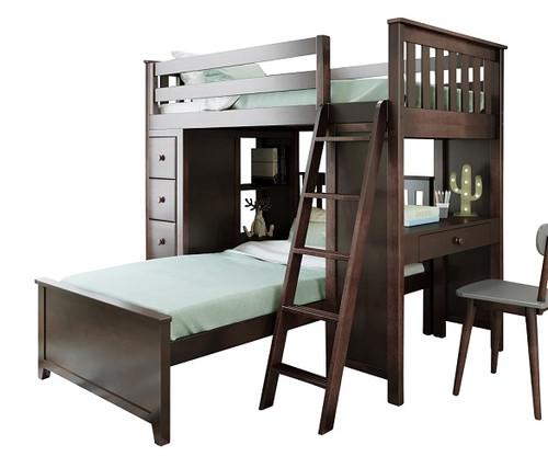 Silas Espresso L Shape Loft Bed