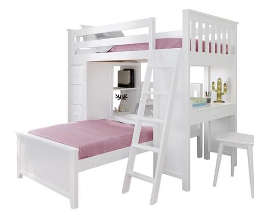 Chelsea White L Shape Loft Bed