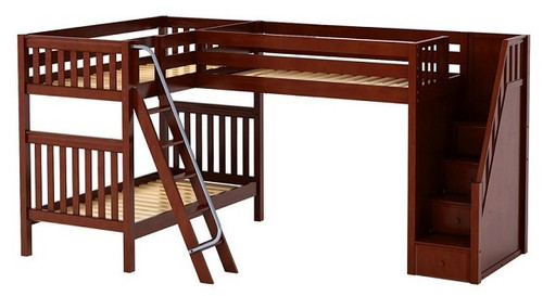 Elkhart Chestnut Twin Size Sleeps 3 Bunk Beds with Stairs