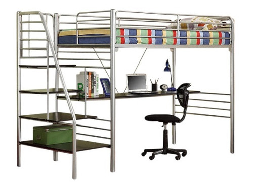 Pilsen Silver Metal Twin Loft Bed with Stairs