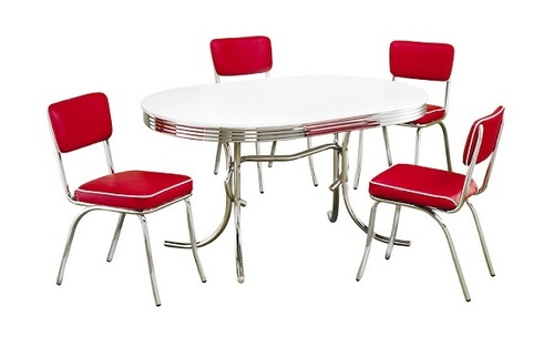 At the Hop Retro Dinette Set Red Chairs