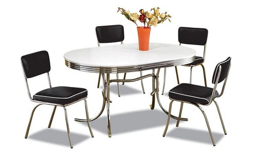 At the Hop Retro Dinette Set Black Chairs