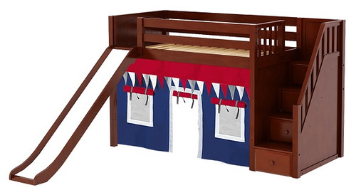 Mayor's Chestnut Fort Slide Loft Bed with Stairs