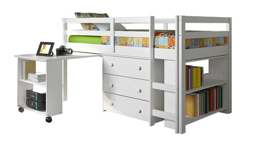 Livorno White Twin Size Mid Loft Beds for Kids