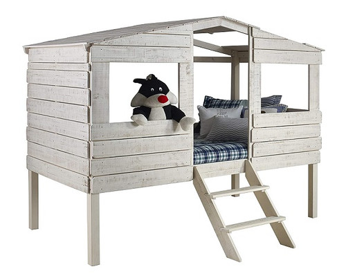 Tanner's Rustic Sand Twin Loft Treehouse Bed