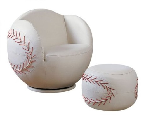 Baseball Swivel Chair & Ottoman