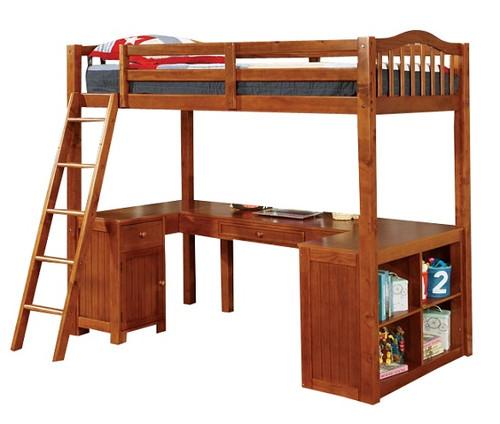 Travis Loft Bed with Desk and Storage oak