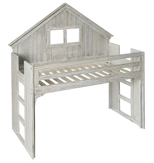Chanse's Brushed Driftwood Twin Playhouse Loft Bed