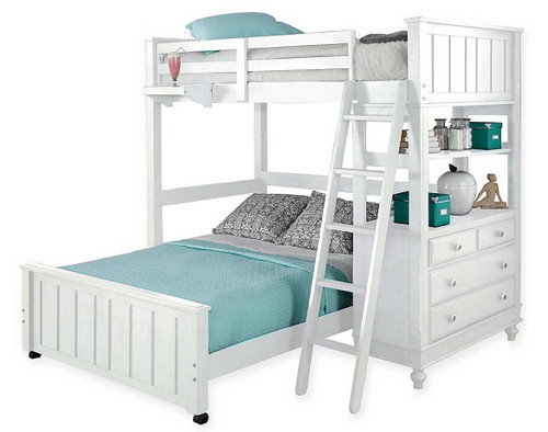 Park Place White Twin over Full L Shaped Loft Bed