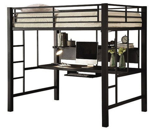 Duval Black Metal Full Size Loft Bed with Desk