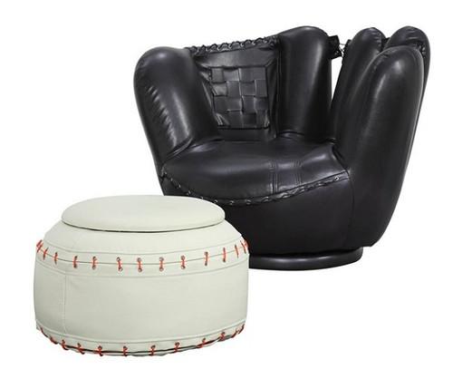 Baseball Glove Swivel Chair & Ottoman