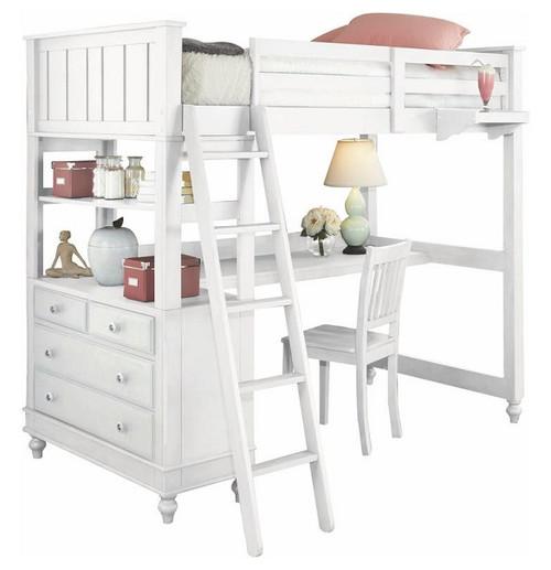 Park Place White Twin Loft Bed with Desk