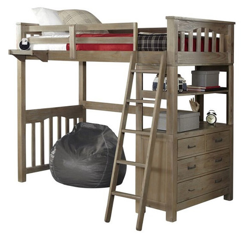 Crosspointe Driftwood Loft Bed with Storage twin size