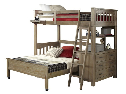 Crosspointe Driftwood L Shaped Loft Bed twin over full size