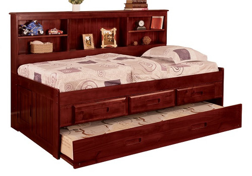 Duncan Brown Cherry Big Bookcase Twin Trundle Bed with Storage