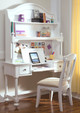 Daphne White Girls Desk Chair in room with matching desk and hutch