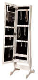 Hutton White Jewelry Storage Mirror open