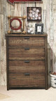 Nathan Road Distressed Brown 4 Drawer Chest in room