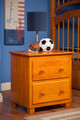 Carson Caramel Bedside Table shown with Wooden Knobs