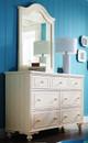 Alyssa Ivory 7 Drawer Dresser with matching mirror in room