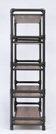 Atos 5 Shelf Pipe Metal and Wood Bookshelf Side View