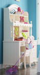 Alyssa Ivory Desk with Drawers with matching hutch and chair in room