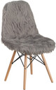 Faux Yeti Accent Chair Grey