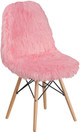 Faux Yeti Accent Chair Light Pink
