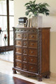 Raliegh Five Drawer Chest Cherry in room