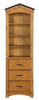 Fort Cody Honey Oak Bookcase Cabinet Front View
