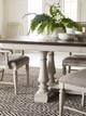 Westport Weathered White Farmhouse Dining Table Trestle Leg Detail