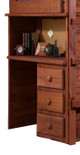 Rush River Mahogany Twin XL over Full XL Loft Bed with Desk Desk Detail