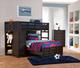 Tristan Twin Loft Bed with Storage Dark Walnut