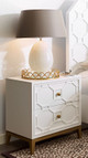 Antoinette White and Gold Nightstand with Charging Station