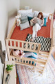 Atlas Chestnut Queen Loft Bed with Daybed Top View (shown in Natural)