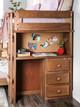 Woodlands Brown Cherry L Shaped Bunk Beds study desk detail