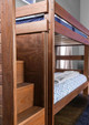 Woodlands Brown Cherry Bunk Beds with Stairs stairs side view