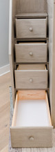 Kivik Sand Twin over Full L Shaped Bunk Beds with Storage Bottom Staircase Drawer Detail