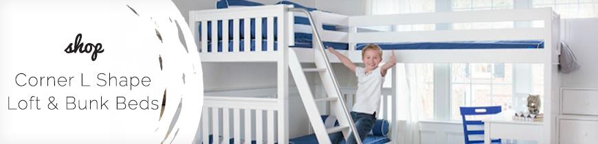 Corner L Shape Loft & Bunk Beds