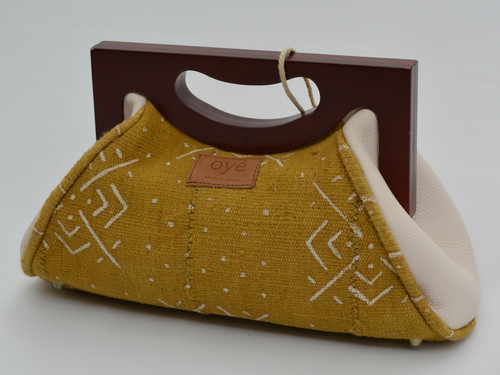 Awo - Gold Mudcloth with White Leather