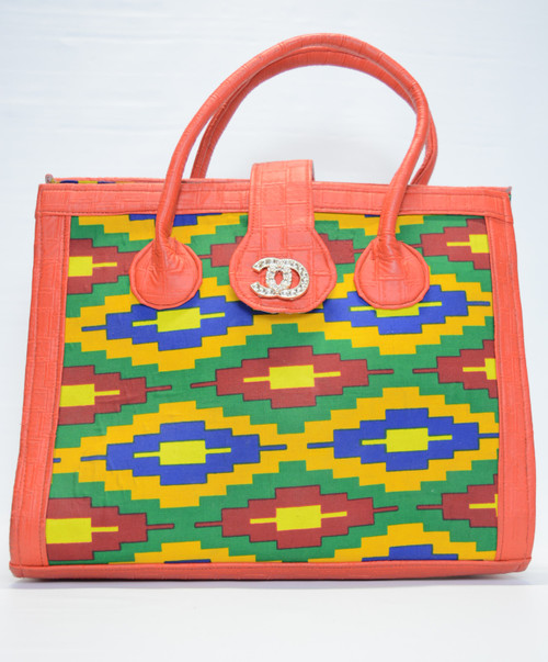 Kente Satchel Bag - Red Border