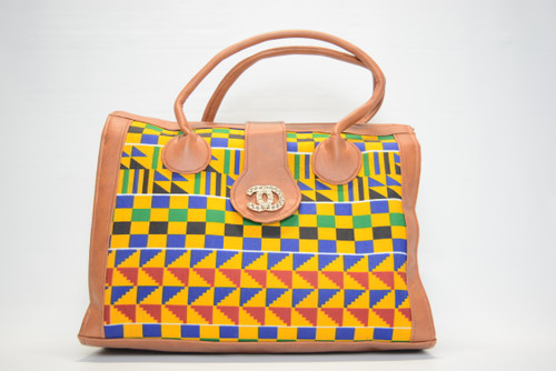 Kente Satchel Bag - Tan Border