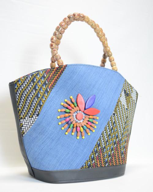 Shopper Handbag - Wood Bead Handle 2