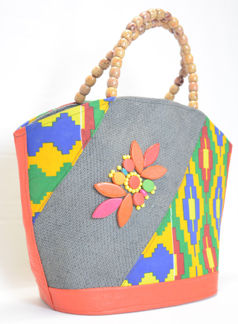 Shopper Handbag - Wood Bead Handle 5