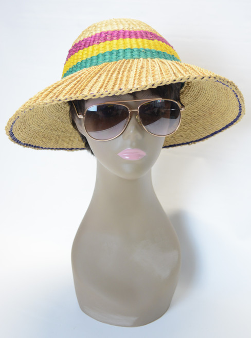 Woven Reed Beach Hat - (Unisex) With Purple, Yellow & Green Stripes
